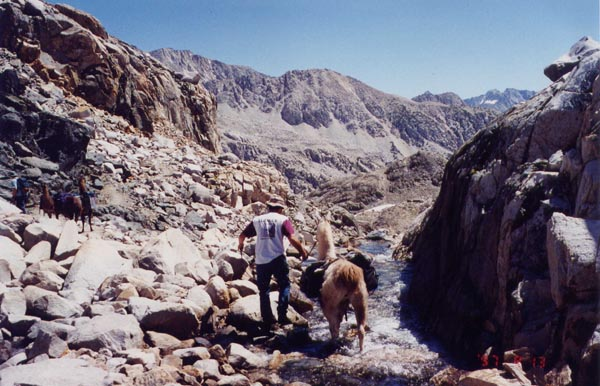 This is the rough rocky trail below Muir Pass.